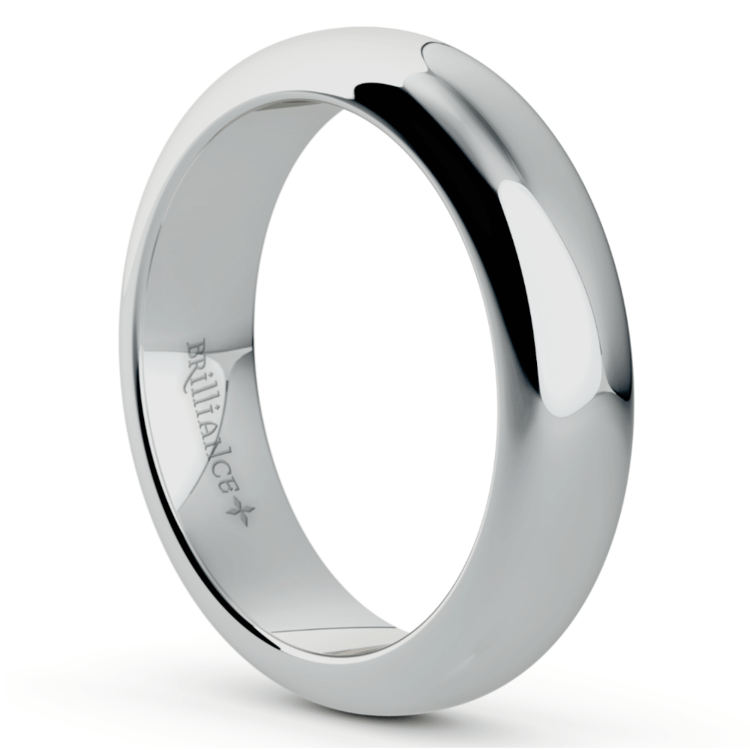 Comfort Fit Men's Wedding Ring in White Gold (5mm) | 02