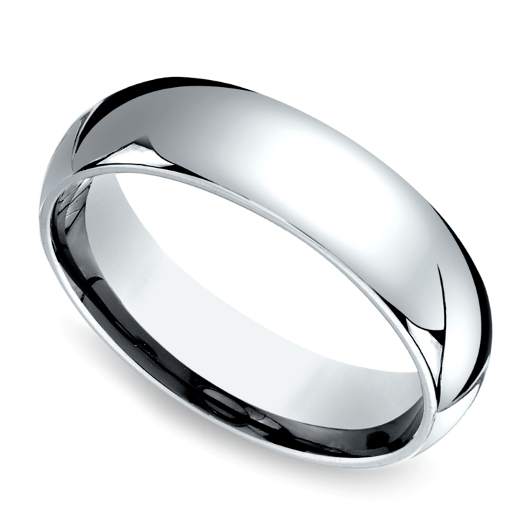 Comfort Fit Men's Wedding Ring in White Gold (6mm) | 01
