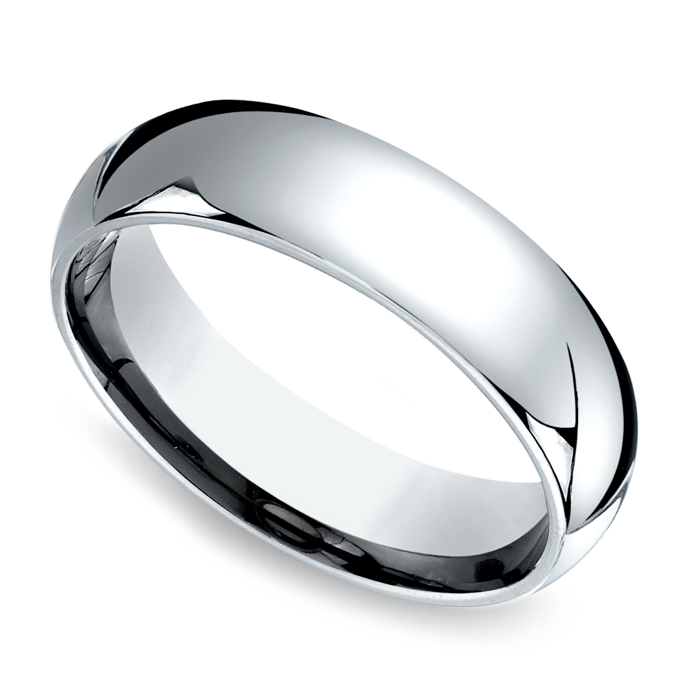 Comfort Fit Mens Wedding Ring In White Gold 6mm