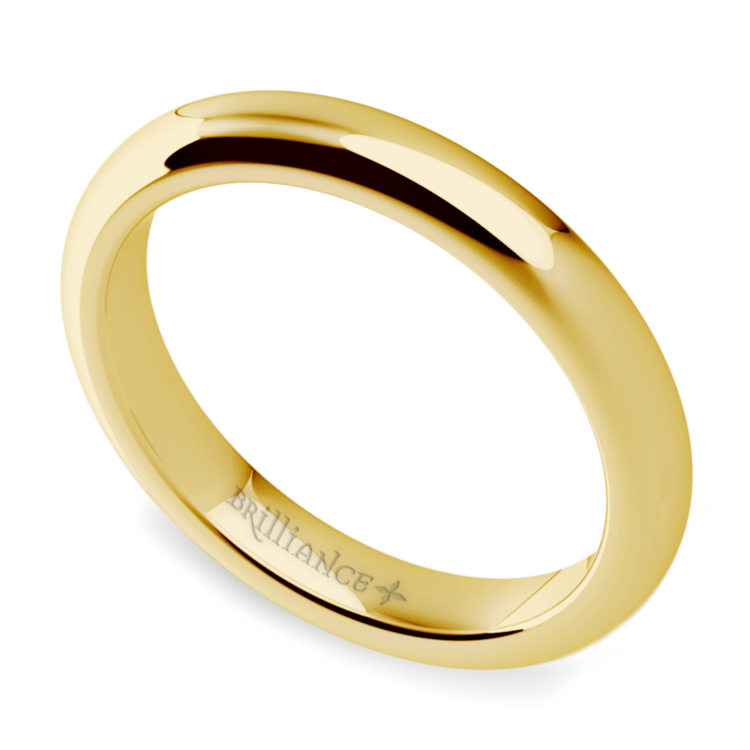 Comfort Fit Men's Wedding Ring in Yellow Gold (3mm) | 01