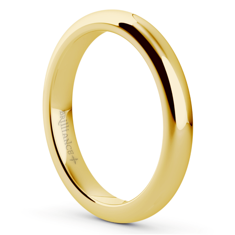 Comfort Fit Men's Wedding Ring in Yellow Gold (3mm) | 02