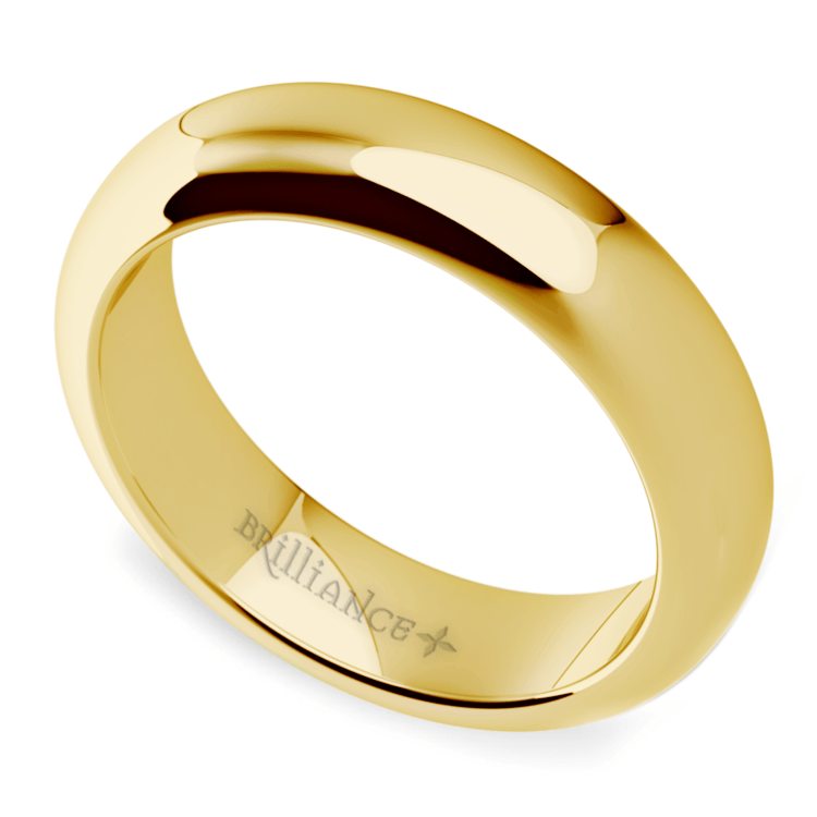 Comfort Fit Men's Wedding Ring in Yellow Gold (5mm) | 01
