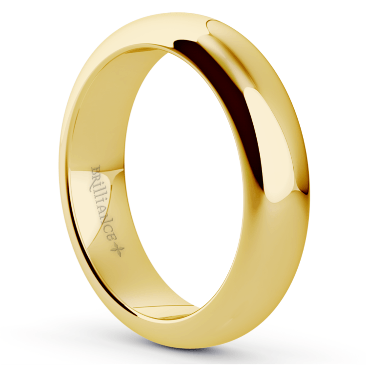 Comfort Fit Men's Wedding Ring in Yellow Gold (5mm) | 02