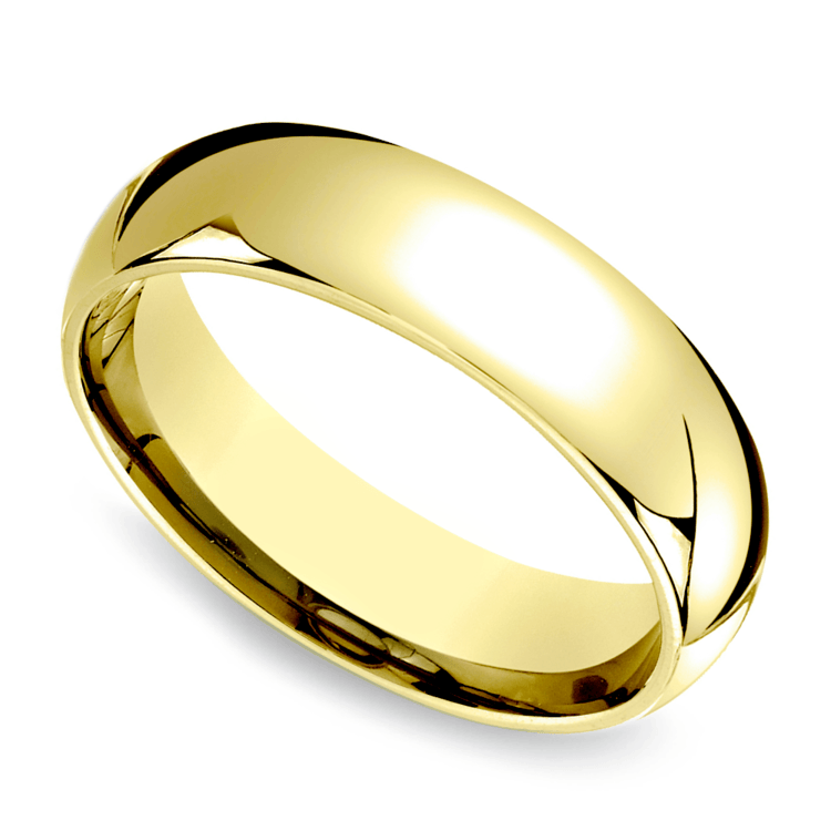 Comfort Fit Men's Wedding Ring in Yellow Gold (6mm) | 01