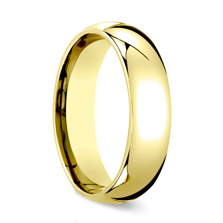 Comfort Fit Men's Wedding Ring in Yellow Gold (6mm) | 02