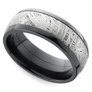 Outer Limits - Comfort Fit Zirconium Mens Band with Meteorite Inlay