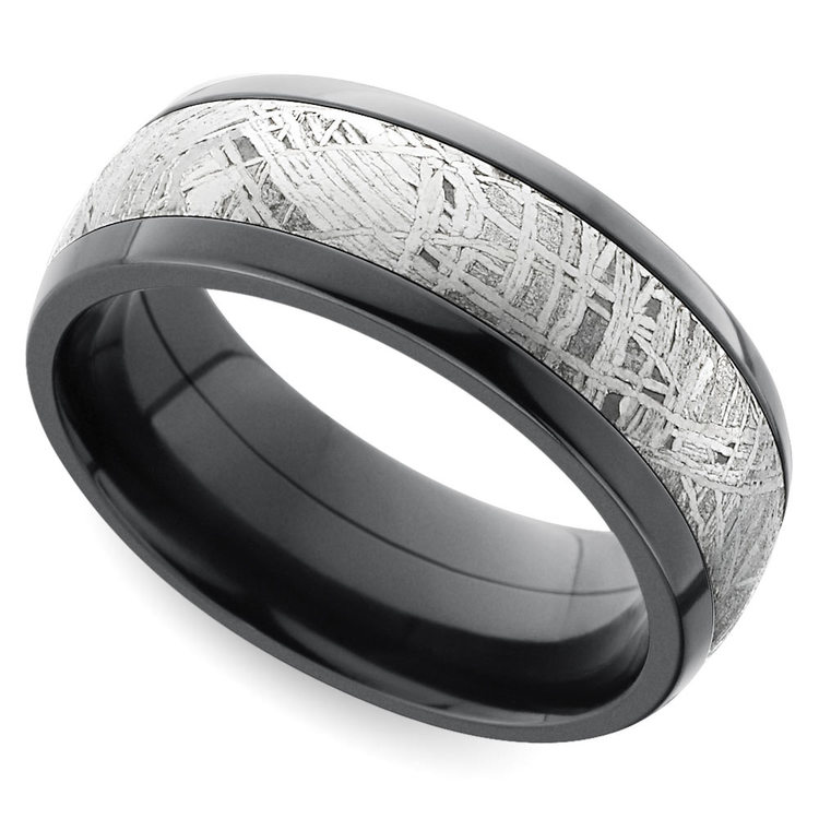 Comfort Fit Men's Wedding Ring with Meteorite Inlay in Zirconium | 01