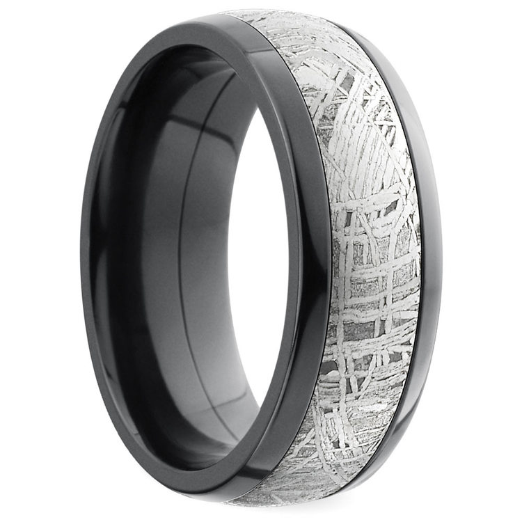 Comfort Fit Men's Wedding Ring with Meteorite Inlay in Zirconium | 02