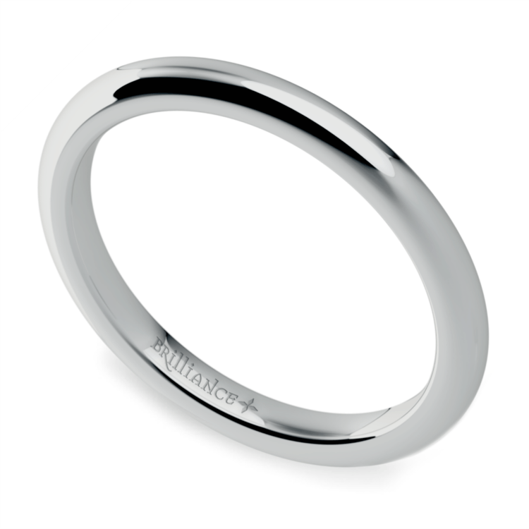 Comfort Fit Wedding Ring in White Gold (2mm) | 01