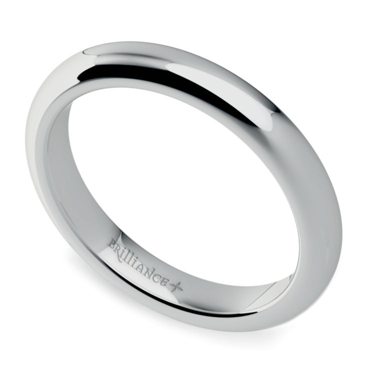 Comfort Fit Wedding Ring in White Gold (3mm) | 01
