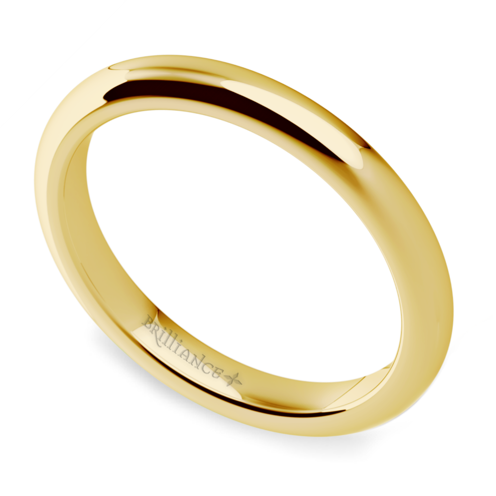 Comfort fit wedding ring in yellow gold 25mm for Wedding ring fitters
