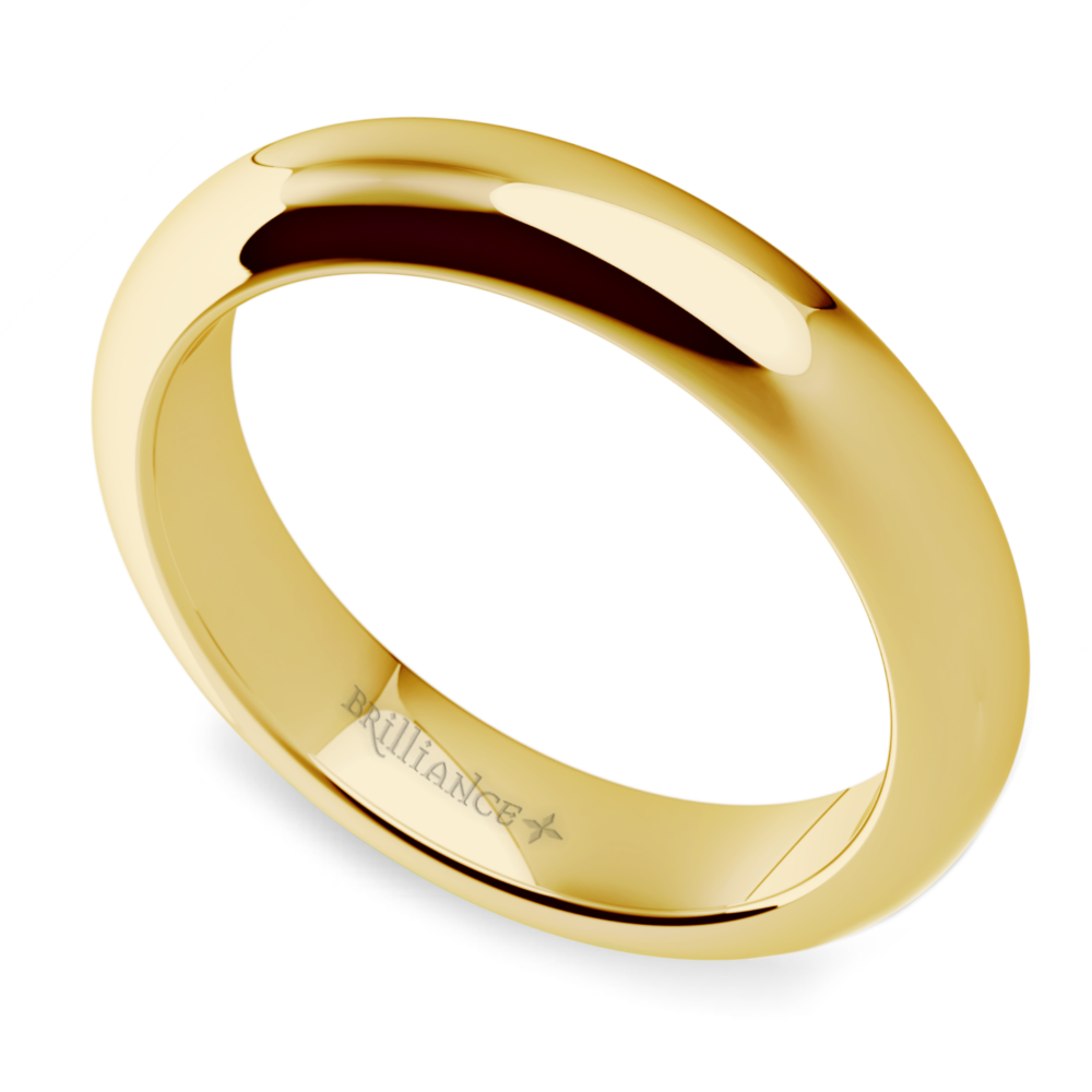 Comfort fit wedding ring in yellow gold 4mm for Wedding ring fitters