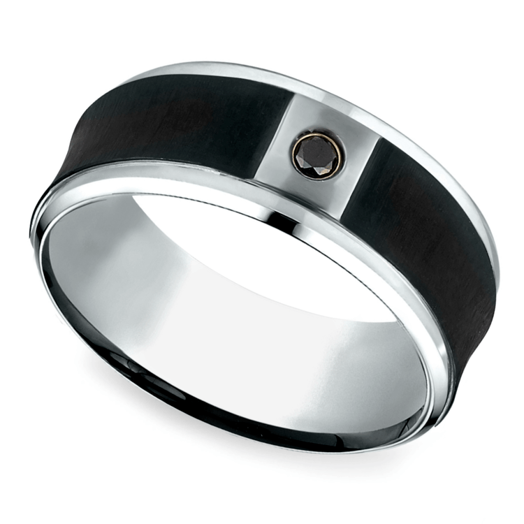 Concave Black Diamond Men's Wedding Ring in Cobalt | 01