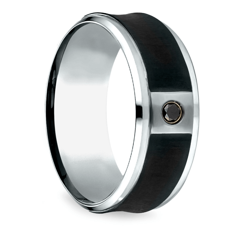 Concave Black Diamond Men's Wedding Ring in Cobalt | 02