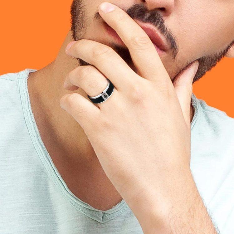 Concave Black Diamond Men's Wedding Ring in Cobalt   04