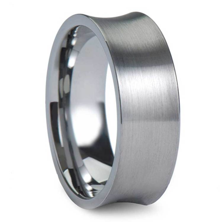Concave Carbide Tungsten Men's Wedding Ring with Brushed Finish (8mm) | 02