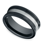 Concave Men's Wedding Ring in Ceramic/Silver | Thumbnail 01
