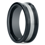 Concave Men's Wedding Ring in Ceramic/Silver | Thumbnail 02