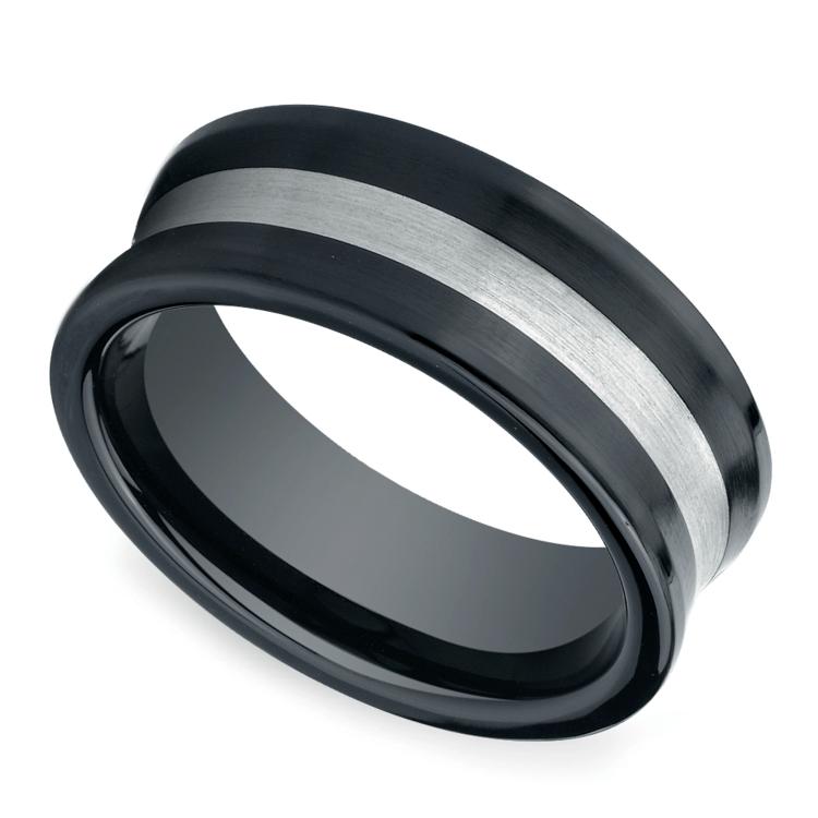 Concave Men's Wedding Ring in Ceramic/Silver | 01