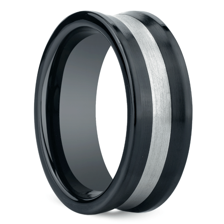 Concave Men's Wedding Ring in Ceramic/Silver | 02