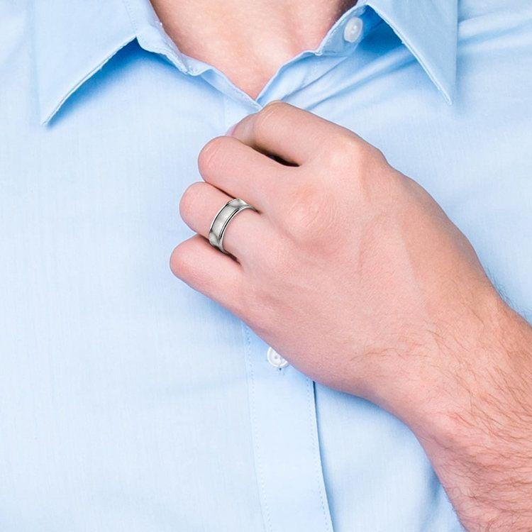Concave Men's Wedding Ring in Palladium (7.5mm)   04
