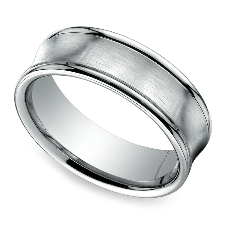 Concave Men's Wedding Ring in Palladium (7.5mm) | 01