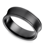 Concave Men's Wedding Ring in Black Titanium | Thumbnail 01