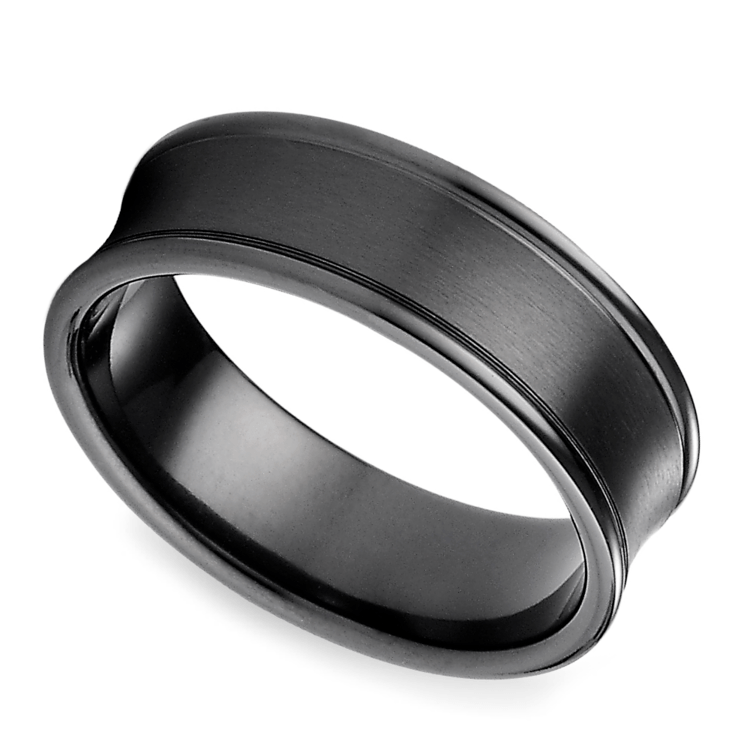Concave Men's Wedding Ring in Black Titanium | 01