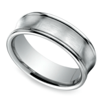 Concave Men's Wedding Ring in White Gold (7.5mm) | Thumbnail 01