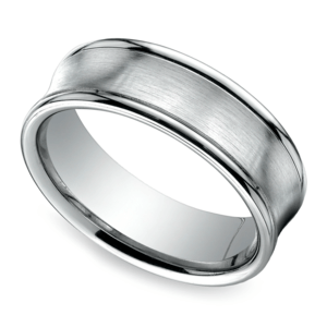 Concave Men's Wedding Ring in White Gold (7.5mm)