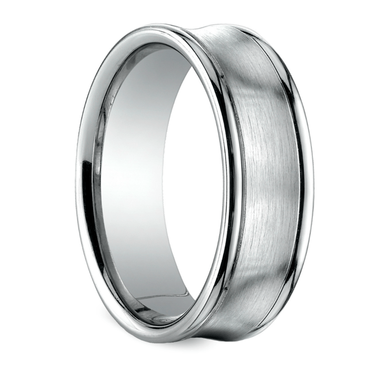Concave Men's Wedding Ring in White Gold (7.5mm) | 02
