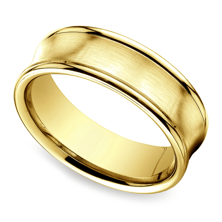 Concave Men's Wedding Ring in Yellow Gold (7.5mm) | 01