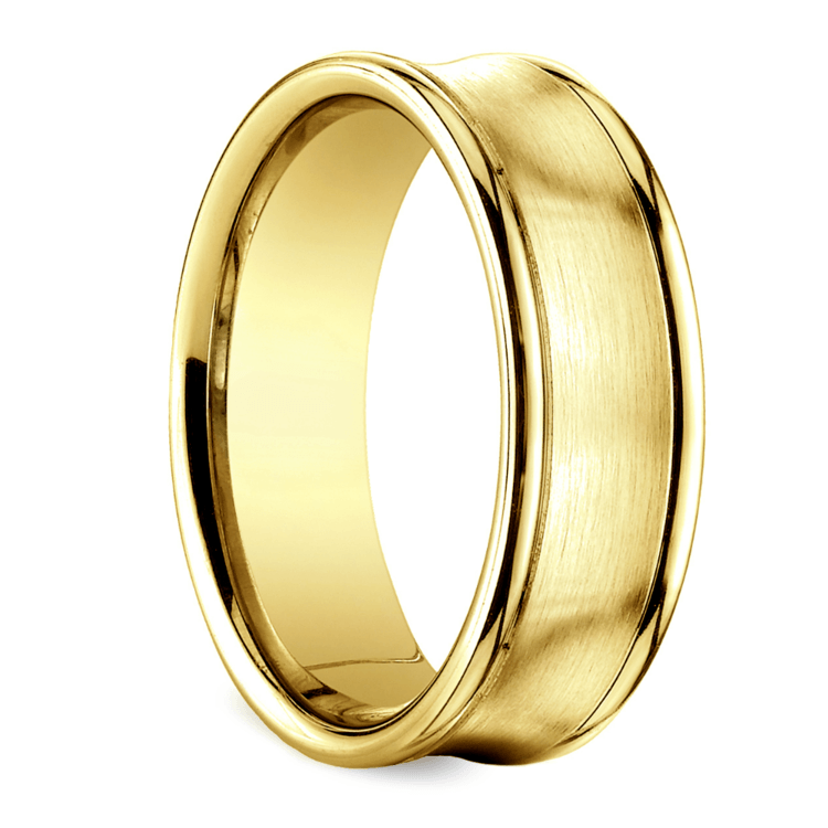 Concave Men's Wedding Ring in Yellow Gold (7.5mm) | 02