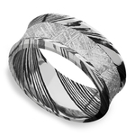 Jett - Concave Meteorite Mens Wedding Band in Damascus Steel | Thumbnail 01