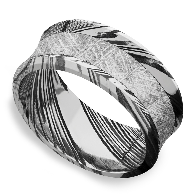 Jett - Concave Meteorite Mens Wedding Band in Damascus Steel | 01