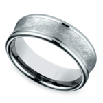 Concave Swirl Men's Wedding Ring in White Gold | Thumbnail 01