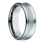 Concave Swirl Men's Wedding Ring in White Gold | Thumbnail 02