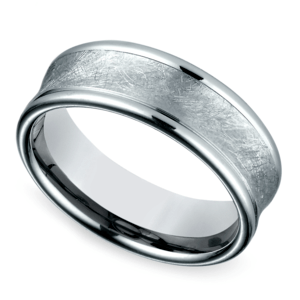 Concave Swirl Men's Wedding Ring in White Gold