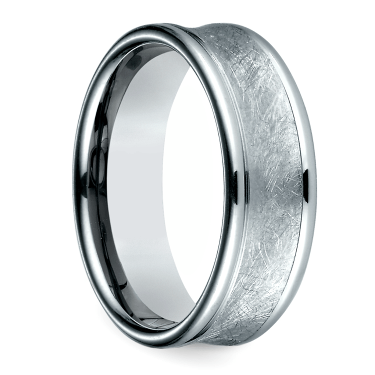 Concave Swirl Men's Wedding Ring in White Gold | 02