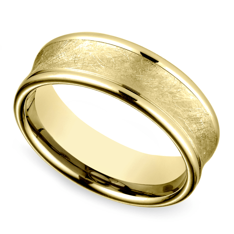 Concave Swirl Men's Wedding Ring in Yellow Gold | 01