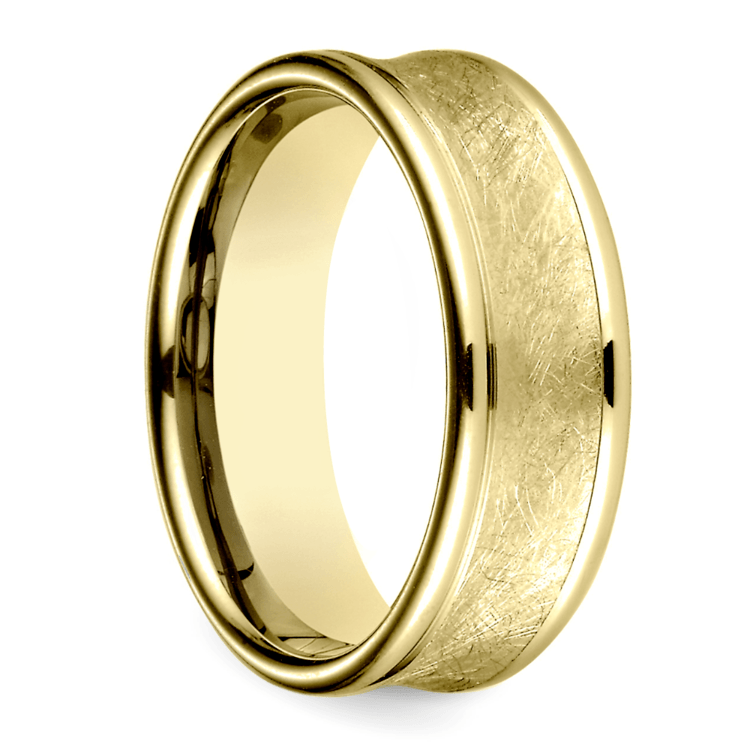 Concave Swirl Men's Wedding Ring in Yellow Gold | 02