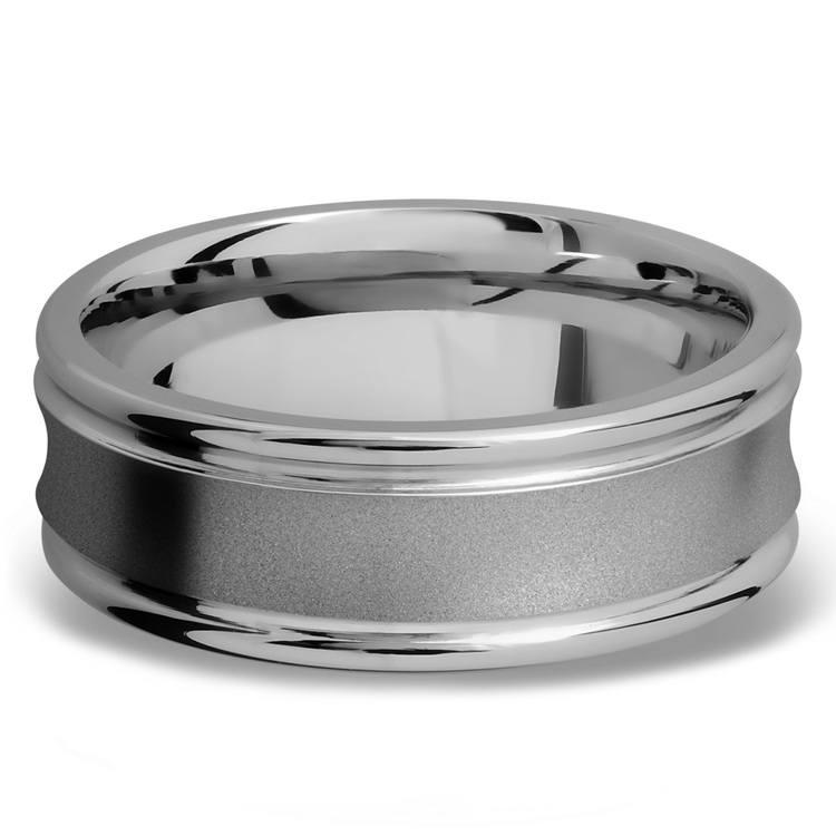 Concaved Center Men's Wedding Ring in Titanium | 03