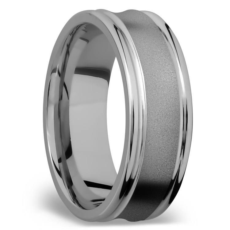Concaved Center Men's Wedding Ring in Titanium | 02