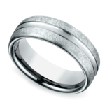 Convex Swirl Men's Wedding Ring in White Gold | Thumbnail 01