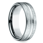 Convex Swirl Men's Wedding Ring in White Gold | Thumbnail 02