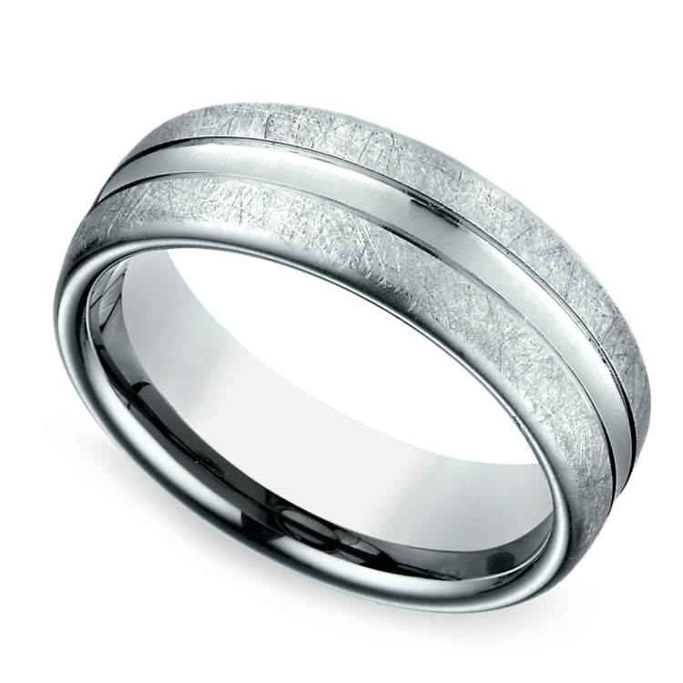 Convex Swirl Men's Wedding Ring in White Gold | 01
