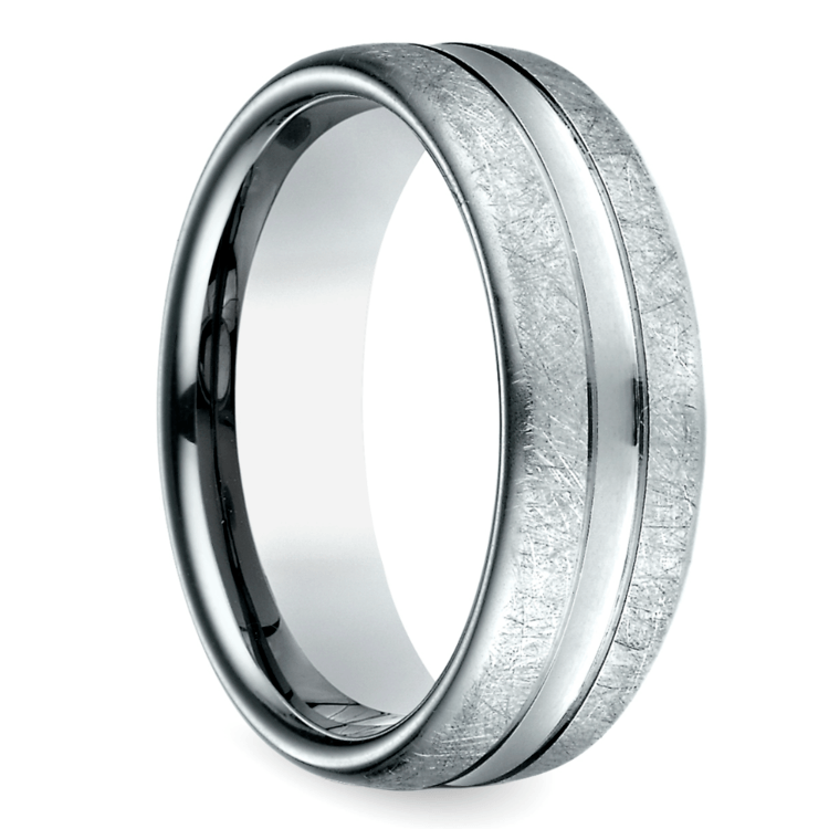 Convex Swirl Men's Wedding Ring in White Gold | 02