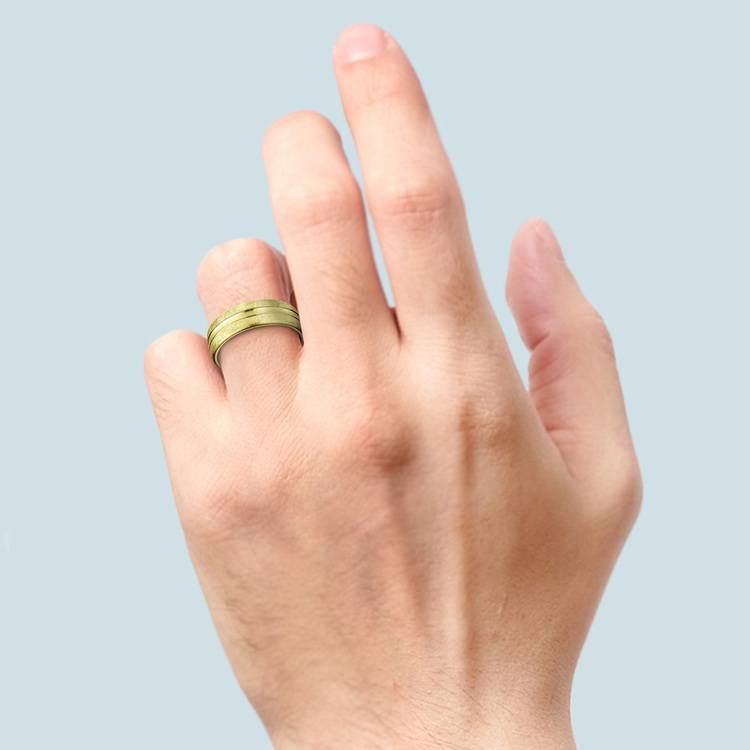 Convex Swirl Men's Wedding Ring in Yellow Gold   03