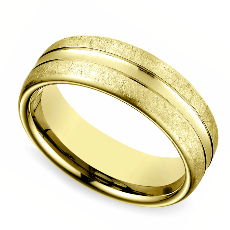 Convex Swirl Men's Wedding Ring in Yellow Gold | 01
