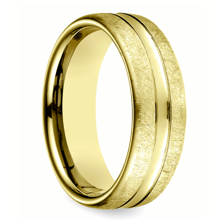 Convex Swirl Men's Wedding Ring in Yellow Gold | 02